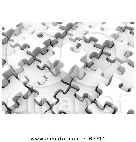 Royalty-Free (RF) Clipart Illustration of 3d White Puzzle Pieces Sliding Into Place by Tonis Pan