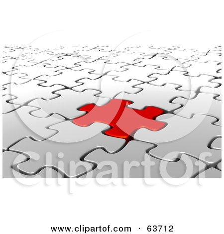 Royalty-Free (RF) Clipart Illustration of a 3d Background Of A Red Jigsaw Puzzle Piece Interlocked In A White Puzzle by Tonis Pan