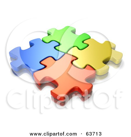 Royalty-Free (RF) Clipart Illustration of Interlocked Blue, Green, Orange And Yellow Jigsaw Puzzle Pieces by Tonis Pan