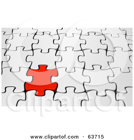 Royalty-Free (RF) Clipart Illustration of a 3d Background Of A Red Puzzle Piece Interlocked In A White Puzzle by Tonis Pan