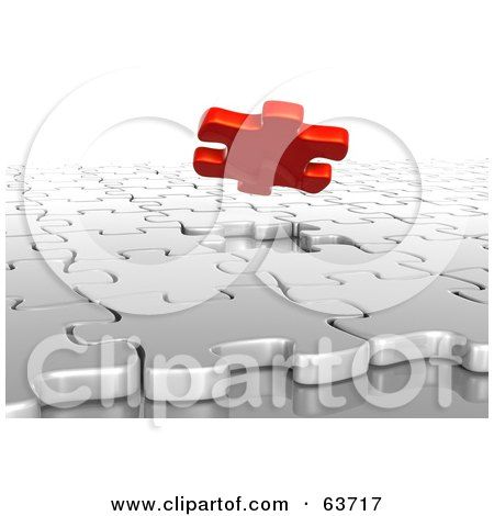 Royalty-Free (RF) Clipart Illustration of a 3d Red Piece Floating Over A White Puzzle Space by Tonis Pan