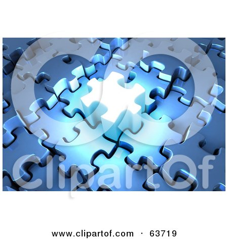 Royalty-Free (RF) Clipart Illustration of a Glowing 3d Jigsaw Puzzle Piece With Blue Locked Pieces by Tonis Pan