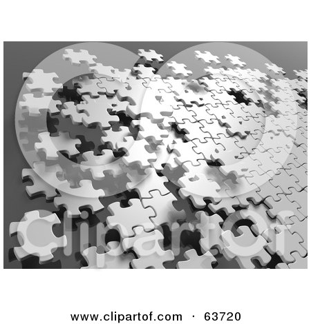 Royalty-Free (RF) Clipart Illustration of 3d Floating White Jigsaw Puzzle Pieces Over Gray by Tonis Pan