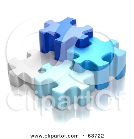 Royalty-Free (RF) Clipart Illustration of Different Sized 3d Blue And White Puzzle Pieces by Tonis Pan
