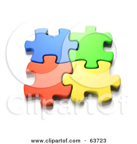 Royalty-Free (RF) Clipart Illustration of Interlocked Colorful Jigsaw Puzzle Pieces by Tonis Pan