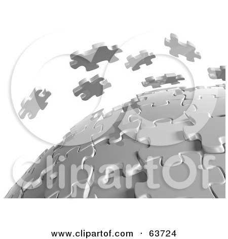 Royalty-Free (RF) Clipart Illustration of 3d White Puzzle Pieces Floating Over A Spherical Puzzle by Tonis Pan