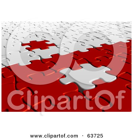 Royalty-Free (RF) Clipart Illustration of a 3d White And Red Jigsaw Puzzle With Pieces On The Opposite Sides by Tonis Pan
