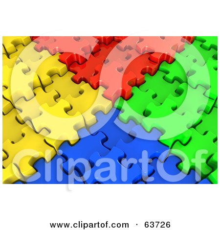 Royalty-Free (RF) Clipart Illustration of Corners Of Red, Yellow, Blue And Green 3d Jigsaw Puzzles Meeting by Tonis Pan