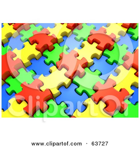 Royalty-Free (RF) Clipart Illustration of a 3d Jigsaw Puzzle Of Interlocked Red, Yellow, Green And Blue Pieces by Tonis Pan