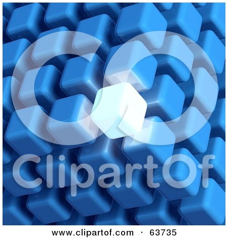 Royalty-Free (RF) Clipart Illustration of a 3d Blue Cubic Structure Composed Of Cubes, One Glowing Brightly by Tonis Pan
