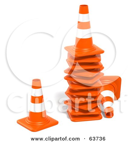 Royalty-Free (RF) Clipart Illustration of a Stack Of 3d Orange Construction Cones by Tonis Pan