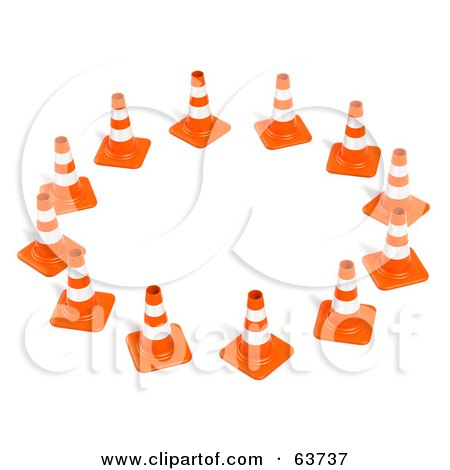 Royalty-Free (RF) Clipart Illustration of a Circle Of 3d Orange Construction Cones by Tonis Pan