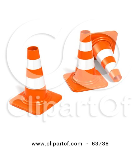 Royalty-Free (RF) Clipart Illustration of Three 3d Orange Construction Cones by Tonis Pan