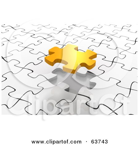 Royalty-Free (RF) Clipart Illustration of a Gold Piece Floating Over A White Puzzle Space by Tonis Pan