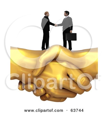 Royalty-Free (RF) Clipart Illustration of 3d Men Shaking Hands On Top Of A Giant Golden Handshake by Tonis Pan