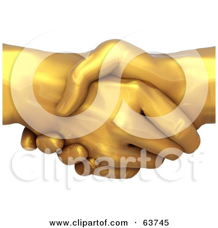 Royalty-Free (RF) Clipart Illustration of 3d Gold Hands Locked In A Hand Shake by Tonis Pan