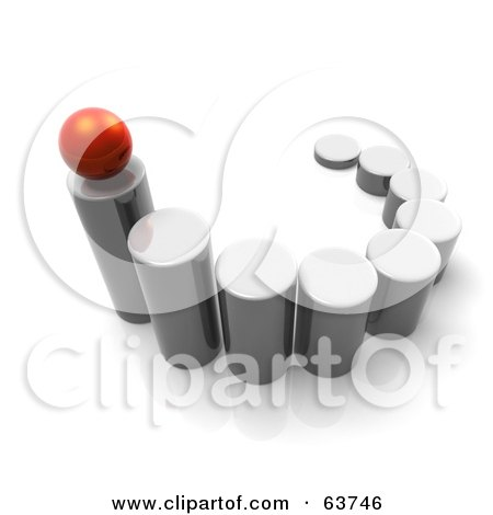 Royalty-Free (RF) Clipart Illustration of a 3d Red Sphere Balanced On The Top Of The Tallest Metal Cylinder In A Line Up by Tonis Pan
