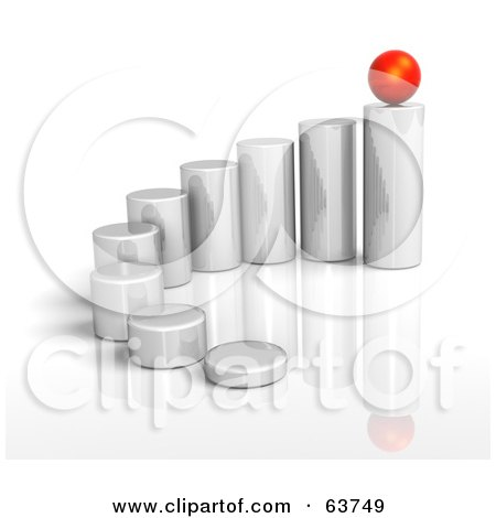 Royalty-Free (RF) Clipart Illustration of 3d Metal Cylinders Arranged By Height, With A Red Sphere Balanced On The Last One, On A White Background by Tonis Pan