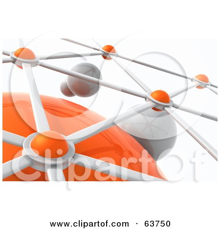 Royalty-Free (RF) Clipart Illustration of a 3d Silver And Orange Nexus Balls Connected To A Network by Tonis Pan