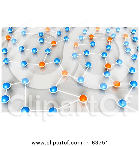 Royalty-Free (RF) Clipart Illustration of a 3d Network Of Orange And Blue Nexus Balls by Tonis Pan