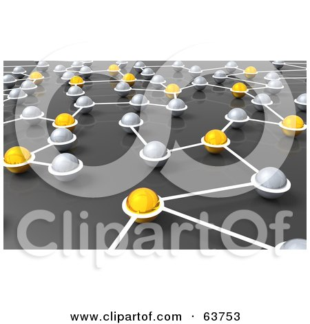 Royalty-Free (RF) Clipart Illustration of a 3d Network Of Silver And Yellow Nexus Balls by Tonis Pan