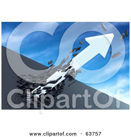Royalty-Free (RF) Clipart Illustration of a 3d White Arrow Breaking Through A Dark Stone Wall And Shooting Into The Sky by Tonis Pan