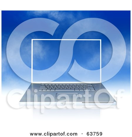 Royalty-Free (RF) Clipart Illustration of a Silver Laptop Over A Blue Sky, The Screensaver Blending In by Tonis Pan