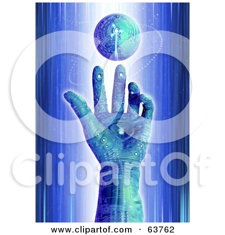 Royalty-Free (RF) Clipart Illustration of a 3d Blue Cyber Circuit Hand Reaching To A Floating Globe by Tonis Pan