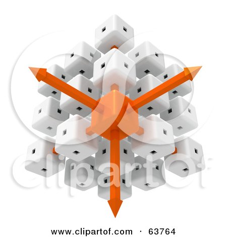 3d White And Orange Cubic Diagramatic Structure With Arrows Posters, Art Prints