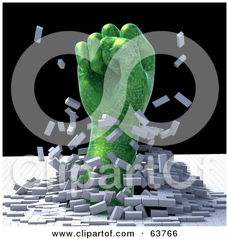Royalty Free RF Clipart Illustration Of A 3d Green Circuit Fist Breaking Through A Cubed Floor