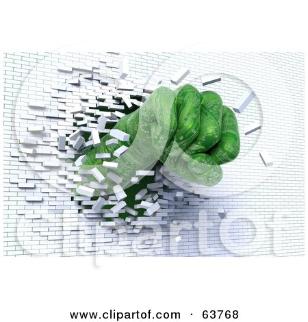Royalty Free RF Clipart Illustration Of A 3d Green Circuit Fist Breaking Through A White Brick Wall