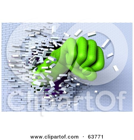 Royalty Free RF Clipart Illustration Of A 3d Green Wire Frame Fist Breaking Through A White Brick Wall