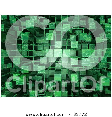 Royalty-Free (RF) Clipart Illustration of a 3d Green Cubic Circuit Background by Tonis Pan