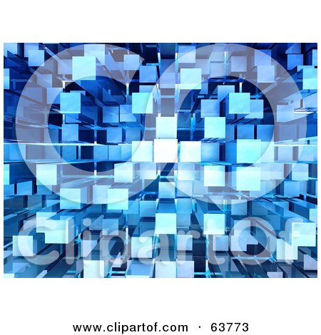 Royalty-Free (RF) Clipart Illustration of a 3d Blue Cubic Background by Tonis Pan