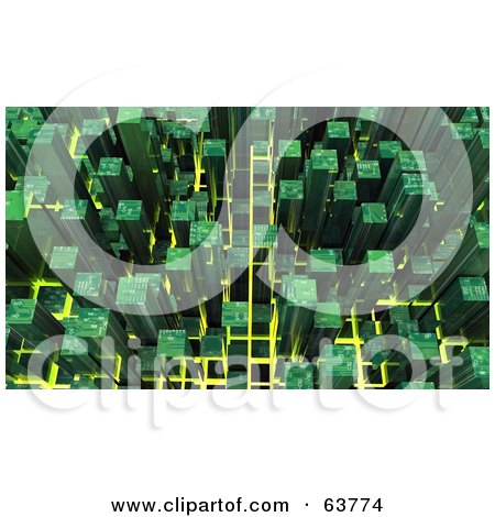 Royalty-Free (RF) Clipart Illustration of a 3d Green Cubic Cyber Circuit City Background by Tonis Pan