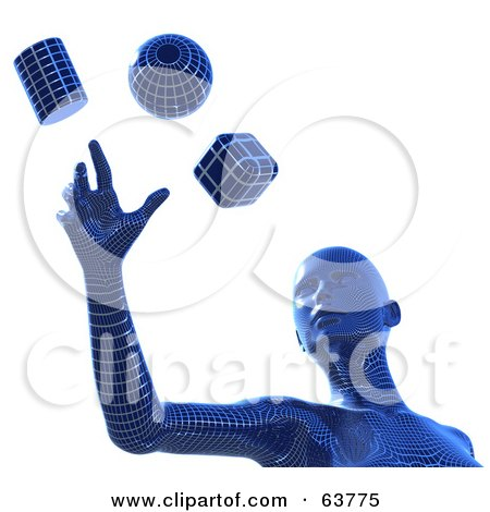 Royalty-Free (RF) Clipart Illustration of a Blue 3d Wire Framed Cyber Woman Reaching For A Sphere, Cube And Cylinder by Tonis Pan