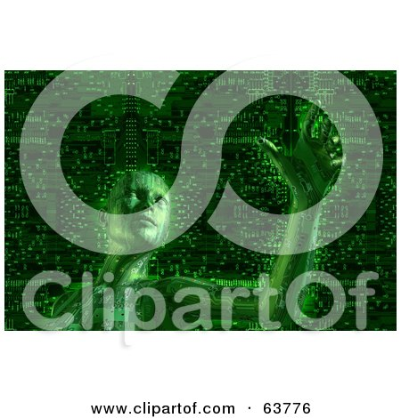 Royalty-Free (RF) Clipart Illustration of a 3d Green Cyber Woman Curiously Reaching Outward, Over A Circuit Background by Tonis Pan