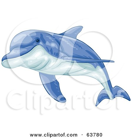 Royalty-Free (RF) Clipart Illustration of a Swimming Blue Dolphin by Tonis Pan