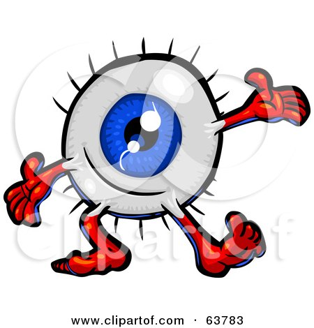 Royalty-Free (RF) Clipart Illustration of a Blue Eyeball Guy Cheerfully Holding His Arms Out by Tonis Pan