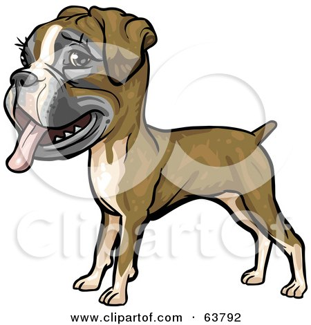 Royalty-Free (RF) Clipart Illustration of a Friendly Boxer Dog by Tonis Pan