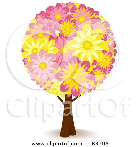 Royalty-Free (RF) Clipart Illustration of a Floral Tree With Yellow And Pink Flowers by elaineitalia