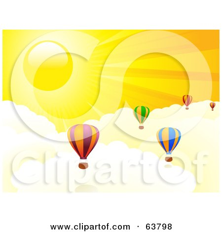 Royalty-Free (RF) Clipart Illustration of Colorful Hot Air Balloons Above The Clouds In A Yellow Sunny Sky by elaineitalia