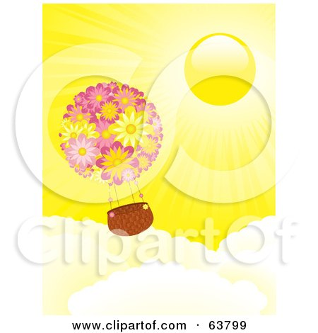 Royalty-Free (RF) Clipart Illustration of a Floral Hot Air Balloon Floating Above The Clouds In A Sunny Yellow Sky by elaineitalia