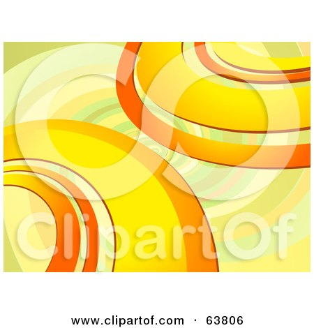 Royalty-Free (RF) Clipart Illustration of a Retro Background Of Orange, Yellow And Green Curves On A Faint Spiral by elaineitalia
