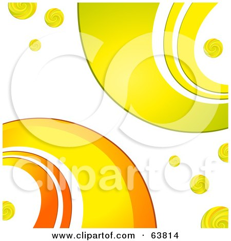 Royalty-Free (RF) Clipart Illustration of a Retro Background Of Orange, Yellow And Green Curves On White by elaineitalia
