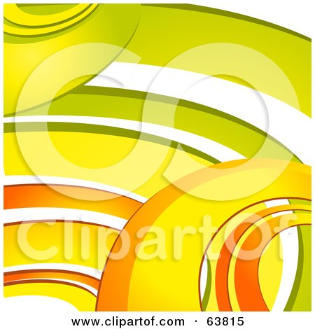 Royalty-Free (RF) Clipart Illustration of a Background Of Retro Orange, Yellow And Green Curves On White by elaineitalia