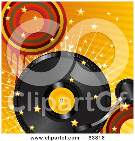 Royalty-Free (RF) Clipart Illustration of a Retro Record Turning Over A Bursting Retro Orange Background With Stars And Dripping Circles by elaineitalia
