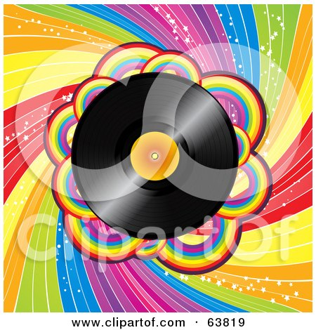 Royalty-Free (RF) Clipart Illustration of a Shiny Vinyl Record Spinning Over A Spiraling Rainbow Background by elaineitalia