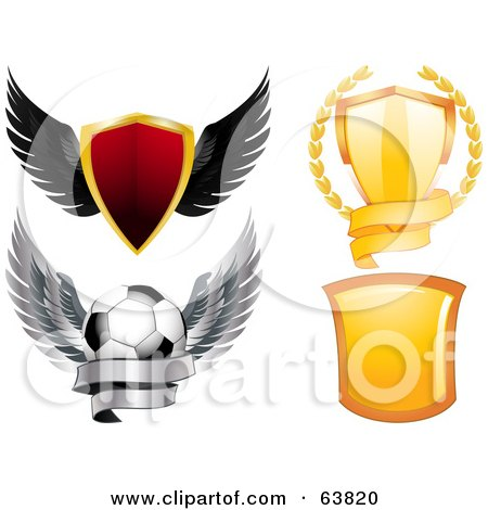 Royalty-Free (RF) Clipart Illustration of a Digital Collage Of Shields by elaineitalia
