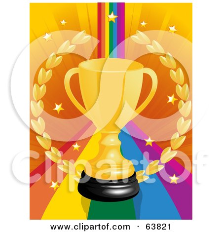 Royalty-Free (RF) Clipart Illustration of a Gold Trophy Cup And Wreath On A Rainbow Background With Stars by elaineitalia